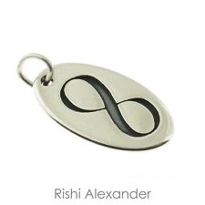925 Sterling Silver Oval Infinity Tag Charm Made in USA