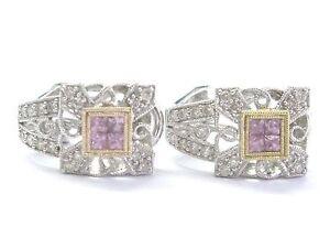 Pink Sapphire & Diamond Milgrain Huggie Earrings 18Kt White Gold 1.12Ct