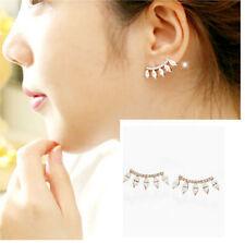 Hot Selling Korean Style Eyelashes Style Rhinestone Alloy Gold Earring Ear Stud