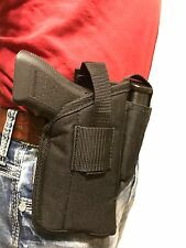 Nylon Hip Belt Gun holster with magazine pouch For Glock 17,19,22 With Tac Light