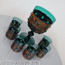 edle 2,4 Liter Turmalin Glas Kupfer Bowle für 6 Personen Vintage Retro 60er J.