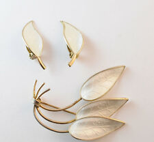 Ivar T. Holth Leaf Brooch & David Anderson Clip Earrings White Enamel Sterling