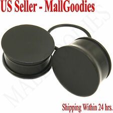 "0942 Black Acrylic Single Flare Ear Plugs 7/8"" Inch 22mm MallGoodies One 1 Pair"