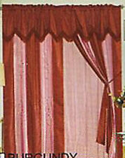 LUXURIOUS POLYSILK EMBROIDERED CURTAIN W/LINER-BURGUNDY