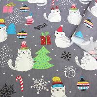 Weihnachten Katze Köper Baumwolle Stoff DIY Bettwäsche Tischset Xmas Party Decor