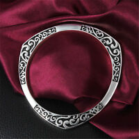 Retro Style Sterling Silver Plated Etched Bangle Bracelet Fashion Jewelry