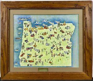 Original 1956 Pictorial Map Illustration of Oregon, Senator Wayne Morse Campaign