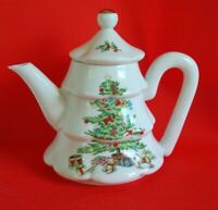 VTG HOLIDAY HOSTESS Christmas Tree Tea Pot Fine China Made in JAPAN With BOX