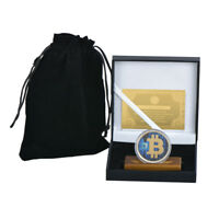 WR 24K Color Gold  BTC Coin Collector Bitcoin /w Wood Stand In Gift Box