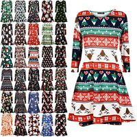 Womens Xmas Ladies Santa Snowman Reindeer Flare Christmas Smock Swing Mini Dress