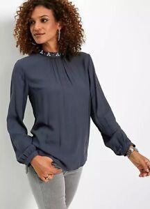 Bonprix Midnight Blue Studded Chiffon Blouse - Size 28 - BNWT