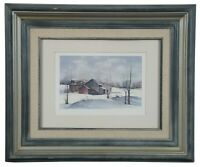 Wilbur Meese Winter Landscape Lithograph Print Country Farmhouse Barn Indiana