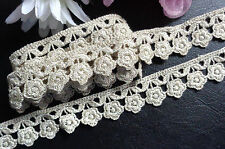 3/4 inch wide floral Lace trim antique white/gold selling by the yard