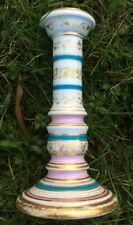 "Jacob Petit Antique 1800s Porcelain 7"" CANDLESTICK, Pink Turquoise Gold, Signed"