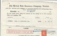 The British Law Insurance Company Ltd. 1945 Ins. Policy Stamp Receipt Ref 38154