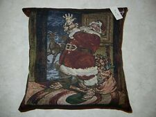 Handmade Accent or Decorative Pillow Featuring Jolly Santa Nwt