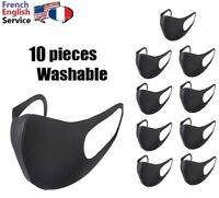 Face mask x 10 black washable coton stretchable Pack de 10 masques coton lavable