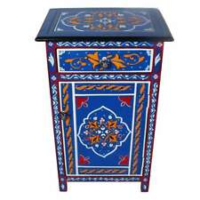 Blue sky Moroccan Indian nightstand end table Top Mango Wood Hand painted