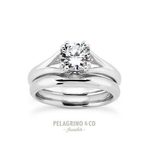 1/2 CT D SI1 Round Cut Natural Certified Diamond 14k Gold Engagement Ring Set