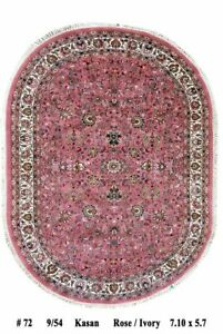 Traditional Rug Oval (~ 2.4 x 1.7 m) Authentic Hand-Knotted 6' x 8' Pink B-70293