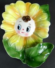 Vtg Anthropomorphic Daisy Flower Wall Pocket Japan
