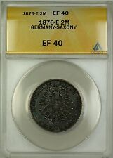 1876-E Germany Saxony Silver 2M Two Marks Coin ANACS EF-40