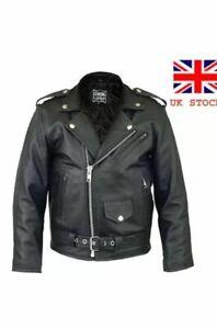 Kids Brando Biker Jacket Black Girls and Boys Real Genuine Leather Motorcycle