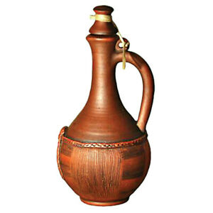 1.3-qt Rustic Tall Clay Stoneware Wine Pitcher with Lid, Handmade in Russia