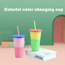 Reusable Water Bottles With Straws Color Changing Cold 710ml Cups P7E8