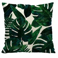 Cotton Linen Green Plants Pillow Case Sofa Waist Cushion Cover Home Decoration