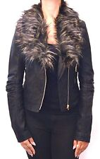 Womens Faux Fur/Leather  Cropped Biker Jacket /Coat in Black Sizes 8 10 12 14 16