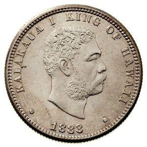 1883 Kingdom of Hawaii Silver 1/4 Dollar (Unc) Kalakaua 25c