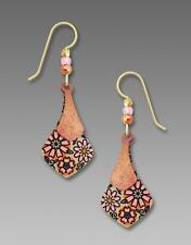 Adajio Earrings Sterling Hook Two Part Soft Rosy Necktie Retro Floral Design