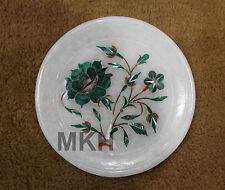 "5"" Marble Marquetry Gems Inlay Plate Flowers Pietra dura home Decor Handicrafts"