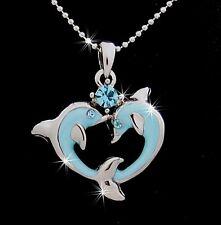 Lovely Dolphins Heart Austrian Crystal Pendant Silver Tone Necklace Aqua Love