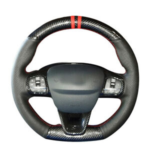Carbon Fiber Black Leather Steering Wheel Cover For Ford Focus Fiesta ST-Line