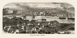 PITTSBURG from Soldiers' Monument - Antique Americana Print 1874 #B922