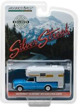 1:64 GreenLight *HOBBY EX* BLUE 1968 Chevrolet C10 w/SILVER STREAK CAMPER NIP