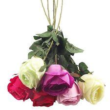 Single XL Closed Rose Bud Stem Artificial Flowers Wedding