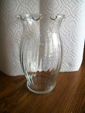 """Clear Glass 7"""" Tall Vase with Decorative Glass and Edge Oval Shaped"""