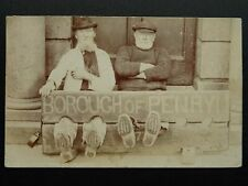 More details for rare cornwall borough of penryn stocks showing two old gents c1908 rp postcard