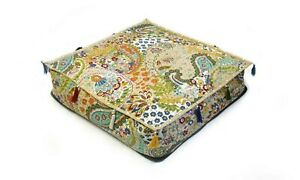 """Indian Cotton Handmade Kantha Pouf Seating Square Ottoman Cover 35x35x5"""" Inches"""