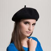 100% laine béret chapeaux dames filles plaine mode hiver noir rouge fashion