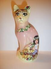 Fenton Glass Stylized Cat OOAK Burmese Sunflower Garden Girl by Sunday Davis
