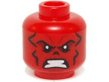 LEGO - Minifig, Head w/ Black Eyes, Dark Red & Black Wrinkles, Bared Teeth - Red
