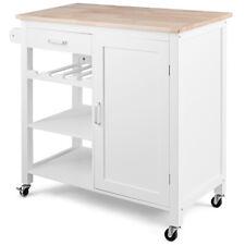 Kitchen Island Trolley Cart Wood Top Home Cabinet w/ Wine Rack & Shelf White
