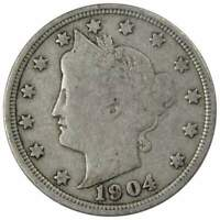 1904 Liberty Head V Nickel 5 Cent Piece VG Very Good 5c US Coin Collectible