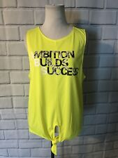 NWT Energie Athletic Tank Top Sz L Neon Yellow Tie Front Ambition Builds Success