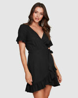 BNWT TIGERLILY LADIES HANA WRAP DRESS (CHARCOAL) RRP $169 SIZE 10 LAST ONE