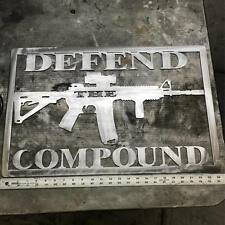 Defend the compound metal wall art